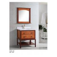 Cheap Country Bathroom Sink Wooden Cabinets Oak Framed Mirror Shelf Bottom 800*520*850mm for sale