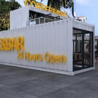 China Glass Wool Wall Panel 20ft Coffee Bar Prefab Shipping Container House on sale