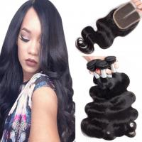 Buy cheap Loose Weave Lace Closure Peruvian Virgin Human Hair Weave With Closure 4X4 from wholesalers