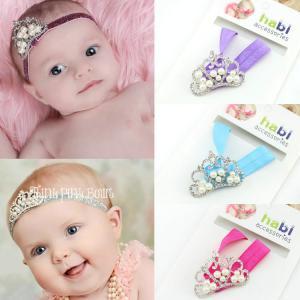 China Baby Headband Princess infant boy Girl Crystal & Pearl Tiara Crown elastic Hairband on sale