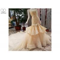 Cheap Puffy Tailor Made Prom Dresses / Champagne Fishtail Prom Dress Lace Flowers for sale