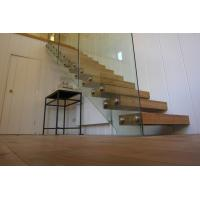 Quality Clear glass railing floating stair with anti slip slots on steps wholesale