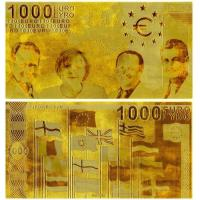 1000 Euro Plated 24K Gold Banknote