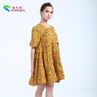 Cheap YIZHIQIU Chinese Style Design Midi Flower Dress for sale