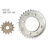 Cheap BIZ110 Motorcycle Chain And Sprocket Kit 33t-14t Metal Material Longer Usage Time for sale