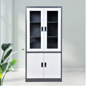 China Double Glass Door Office SPCC Steel Storage Cupboard on sale