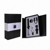 Cheap Bar Set, Includes 1pc Cork Pops Wine Opener, 1pc Wine Pourer and 1pc Wine Vacuum Stopper for sale