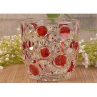 Cheap Home Decorative Glass Candle Holders  , Glass Candlestick Holders Hobnail Dots Emboss for sale