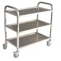 Cheap Commercial 3 Tier Stainless Steel Serving Cart With Castors / Handle for sale