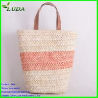 Cheap Two colors curving matching corn husk straw bag with PU handle for sale