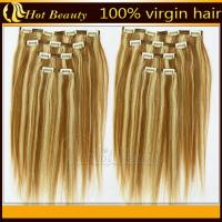 Cheap Light color Personalized European Straight Real Hair Clip In Hair Extensions double machine weft for sale