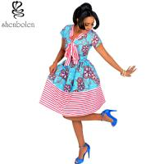 Cheap Cotton African Print Dresses Women Ankara Striped Cloth Stitching Batik Printing Dress for sale