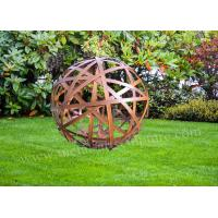 Cheap Wonderful Ball Corten Steel Sculpture Urban Landscape Rusty Outdoor Decoration for sale