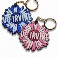 Cheap Flower Shaped Keychains, Various Styles are Available, Made of Soft PVC for sale