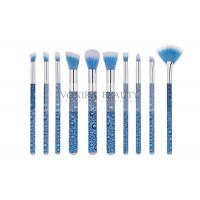 Cheap Eye Catching Blue Mass Level Makeup Brushes , Face And Eye Brush Set Water Look Handle for sale