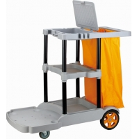 China Commercial Grey Plastic 3 Shelf Custodial Cleaning Carts on sale