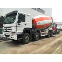 China 266-371hp Euro2 Euro3 HOWO A7 Truck Concrete Mixer 8x4 10cbm In Red White Color on sale