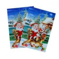 Cheap Merry Christmas plastic 3d lenticular lens printing sticker flip animation Wall Sticker for sale