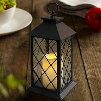 Cheap Vintage Indoor Black Lantern Flameless LED Candles With Plastic Wavy And Drip for sale