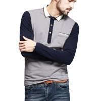 Cheap Color Block Ribbed Mens Polo T Shirts With Sleeves Placket Unfunctional Pocket for sale
