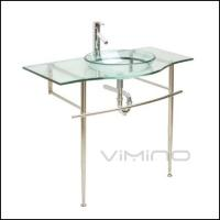 China Classic Crystal Tempered Glass Bathroom Vanity Single Glass Sink Stainless Steel Bracket on sale