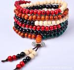 Cheap Sandalwood bead bracelet with colorful kong multilayer couple bracelet for sale