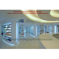 Quality Hot selling Pharmacy Store Display Furniture in white color Wall Storage cabinet  with Drawers and Glass Shelves wholesale