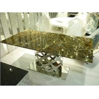 China Contemporary Trendy Long Modern Living Room Furnitures Dining Table with Base on sale