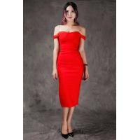 Cheap Summer Bodycon Dresses Red , Mid Length Bodycon Dresses A - Line wholesale