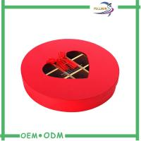 Cheap Eco - Friendly Red Custom Paperboard Chocolate Gift Packs Round Box ODM / OEM wholesale