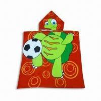 Children's Beach Towel/Poncho, Made of 100% Cotton, with Velour Reactive Printing