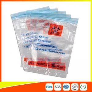Zip Seal Medical Transport Bags For Hospital , Biohazard Ziplock Bags