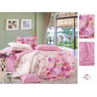 Cheap Pink Printed Personalized Full Size Family / Hotel Cotton Bed Sheet Sets for sale