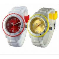 Cheap Colored Dial Ladies Silicone Watch White Wristband Plastic Case Japan / Chinese movt for sale