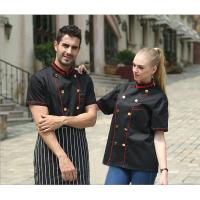 Cheap Adult Hotel / Bar Black Chef Uniform With Short Sleeve / Womens Chef Uniforms for sale