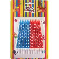 Cheap Dots Painted Print Birthday Candles 12pcs 12 Holders Dia 0.55cm For Child Gift for sale