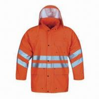 Cheap High-visibility Raincoat for Adult, Made of PU, EN471 Standard for sale