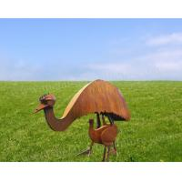 Cheap Lovely Ostrich Bird Sculpture Corten Steel Product As Exterior Lawn Decoration for sale