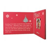 Cheap Beautiful Red 2.4 Inch Custom Video Greeting Cards Brochure For Christmas for sale