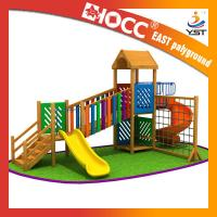 Cheap Rainbow Wooden Playground Equipment Galvanized Steel Pipe CE Approved for sale