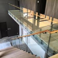 Cheap Glass balustrade with stainless steel patch fitting for decking interior/ outdoor for sale