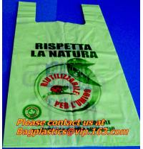China HDPE biodegradable bags, biodegadrable T-shirt bag,100%biodegradable bag EN13432 on sale