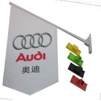 Cheap Durable Double Sides Shop Front Flags With Bracket / Pvc Pole Full Color Printing for sale