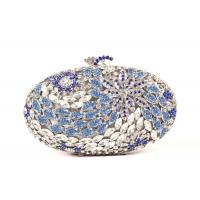 Cheap Handmade Full Crystal Stone Clutch Bag Silver Pu Leather Lining 16.5 * 4.8 * 11CM for sale