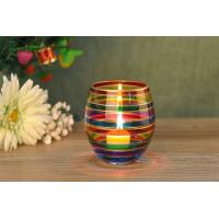 Cheap Wedding Decorative Glass Candle Holder , Colored Glass Votive Candle Holders for sale