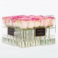 Cheap Crystal Clear Acrylic Box with Lavender/red/pink Roses ,glowing flowers rose thick acrylic box with lid for sale