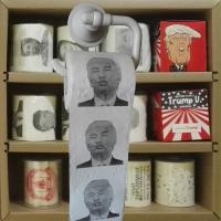Cheap Trump printed toilet paper 3 layer 200 sheets 100% wood virgin pulp novelty toilet roll supplier for sale