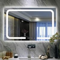 China Bathroom USB rechargeable LED backlit vanity wall mirror with display screen on sale