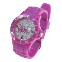 Cheap Artificial Durable Debossed Printed Pink & black Silicone Wristbands watches for sale