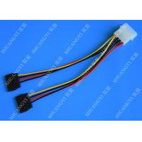 Cheap 4P Molex To Dual SATA Flat Wire Harness And Cable Assembly Black Red Yellow With Y Cable Adapter for sale